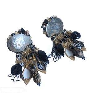 Vintage Ammonite Fossil Beaded Earrings Southwest